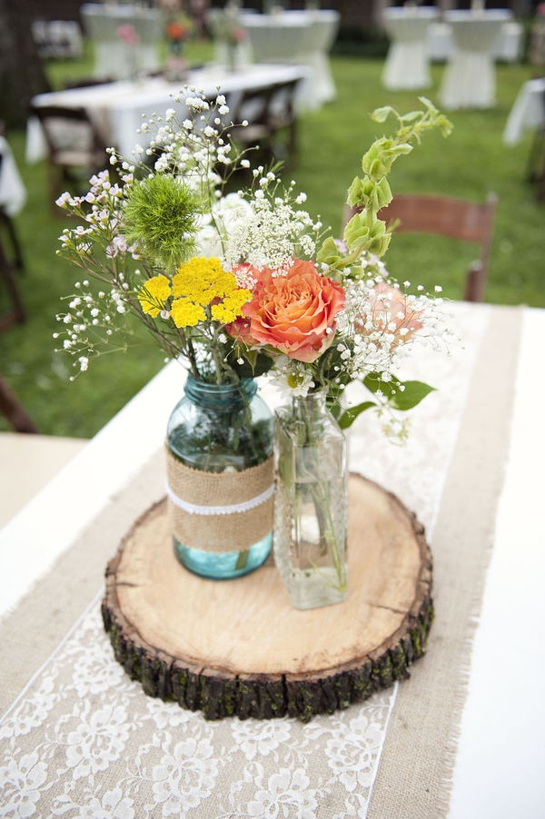 Memorable wedding rustic wedding decorations for Small flower decorations for tables