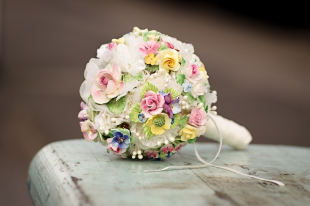 floral china vintage brooch bouquet