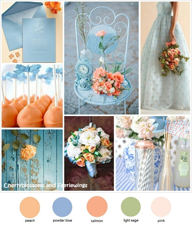 color series 2 peach powder blue wedding blog