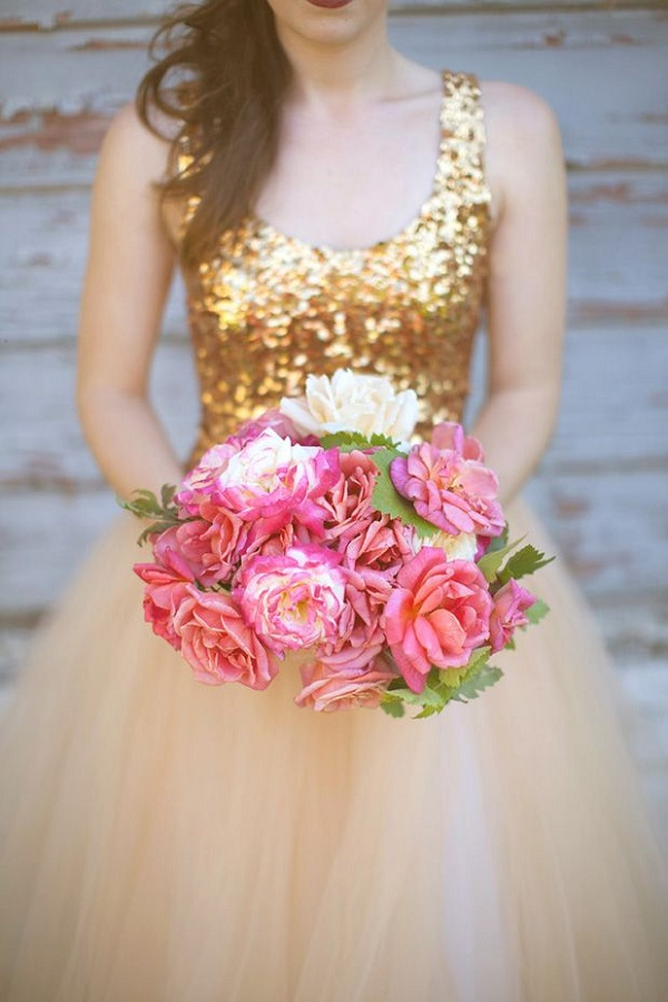 gold dress pink flowers