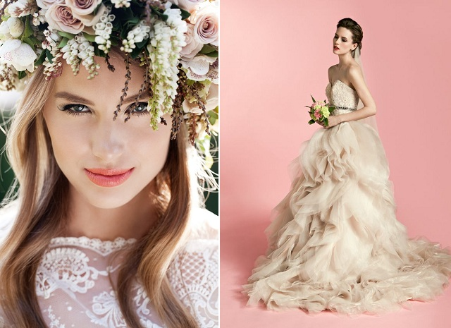 Blush Floral crown and Veejay Floresca gown