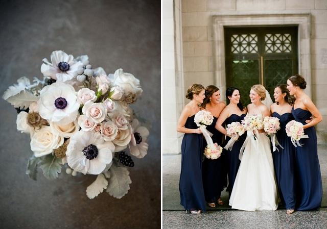 bouquet + strapless navy bridesmaid dresses