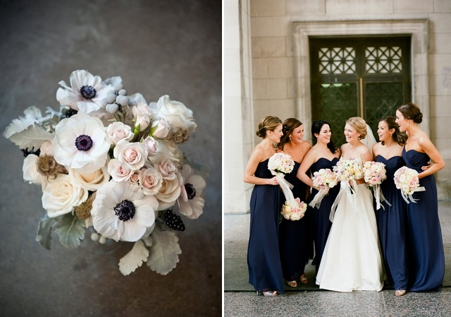 bouquet + strapless navy bridesmaid dresses