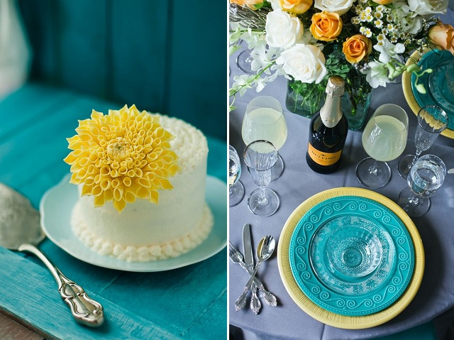 teal and yellow details