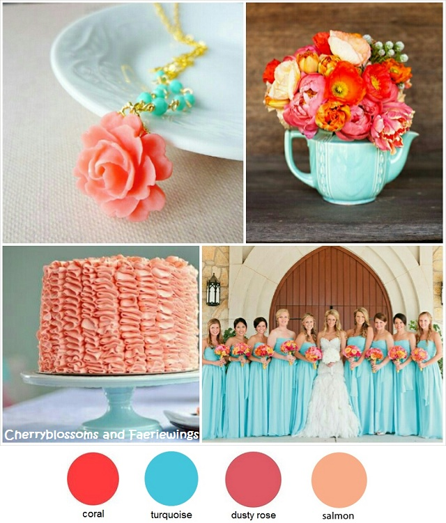 Coral Turquoise Wedding | Cherryblossoms and Faeriewings