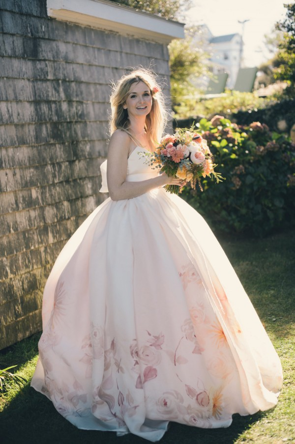 watercolor bridal gown